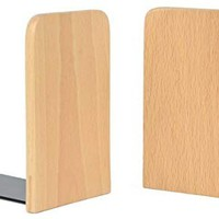 Musowood Bookend Set of 2 Natural Beech Wood Office Desktop Bookends, (Square)