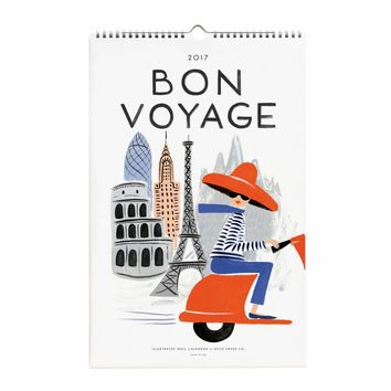 2017 Bon Voyage Wall Calendar by RIFLE PAPER Co.   Made in USA