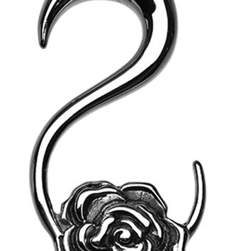 Rose Blossom 316L Surgical Steel Ear Gauge Hanging Taper
