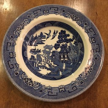 """JOHNSON BROTHERS England BLUE WILLOW Dinner Plate 10 3/8"""" Dated 1940 - EUC"""