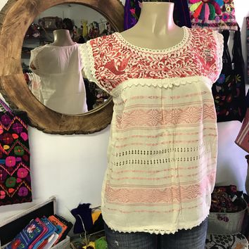 Mexican Oaxaca Cream Blouse with Coral Embroidery