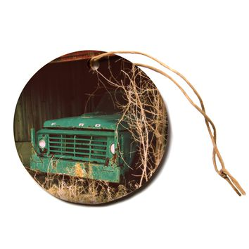 """Angie Turner """"Ford"""" Teal Car Circle Holiday Ornament"""