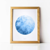 Blue moon wall decor, Full moon print, Astronomy gift, Blue nursery art Digital watercolor Moon artwork, Blue watercolor print, La luna Moon