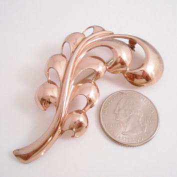 Monet Sterling Plume Brooch Pin Gold Wash