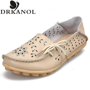 New shoes woman flats split leather slip on loafers women flat shoes casual moccasins plus size women shoes 35-43
