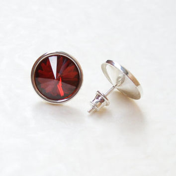 Sterling silver Swarovski crystal dark red Siam indian red stud post earrings Christmas stud earrings