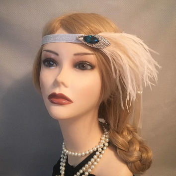 Silver Flapper Headband 1920s soft peach ivory blue stone sparkly party headpiece wedding gatsby bridesmaids Adjustable Halloween (656)