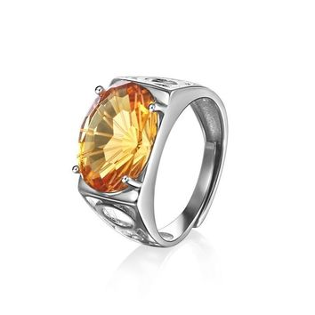 Fireworks Citrine Men's Ring Piezoelectricity Technology 925 Sterling Silver Jewelry Yellow 10*14mm