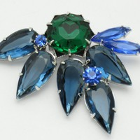 Vintage Faux Emerald Sapphire Open Back Rhinestone Glass Pin Brooch