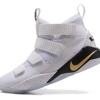 Best Deal Online Nike LeBron Soldier 11 Court General 897644-101 White Black Gold Men Basketball Sneakers Sports Shoes