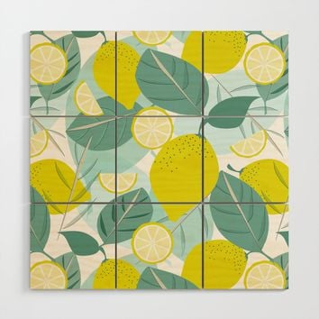 Lemons and Slices Wood Wall Art by mirimo