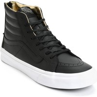 Vans Sk8 Hi Slim Black & Gold Leather Shoes (Womens)