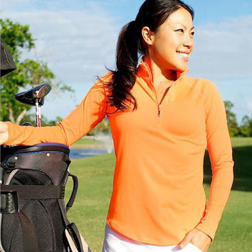 CLEARANCE JoFit Women's Plus Size Long Sleeve Golf/Tennis Shirts - Lanai (Orange Crush)