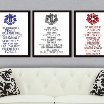 Set of 3: Jedi Code, Sith Code, Grey Jedi Code Star Wars Poster, Star Wars Decor