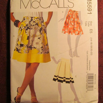SALE Uncut McCall's sewing Pattern, 5591! 14-16-18-20-22 Medium/Large/XL/Women's/Misses/Pleated Skirts/Skirt Sash/Mid-Knee Length/Faced Yoke