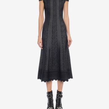 Off The Shoulder Jacquard Lace Dress | Alexander McQueen