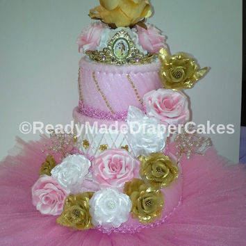 Princess Themed Baby Girl Tutu Shower Decor Pink White and Gold Roses 3 Tier Elegant Bouquet Beaded Diaper Cake Table Centerpiece Gift
