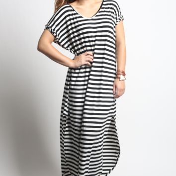 Stripe Side Split Maxi Dress