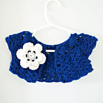 Baby Girl Crochet Shrug - Cobalt Blue Cardigan- Infant Crocheted Cardigan- Royal Blue Shrug w/ White Flower- Baby Cardigan- Blue Shrug