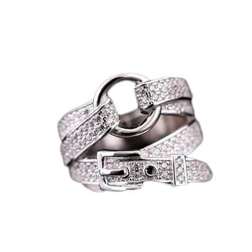 Silver Plate Belt Buckle Crystal Ring Wedding Brand Ring Jewelry Women Jewelry Finger Rings