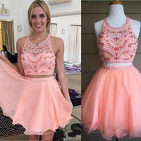 Two Pieces Homecoming Dress Short Prom Dresses pst1335