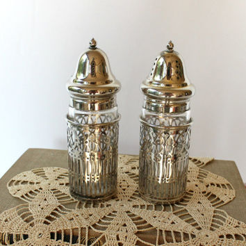 Vintage Silver Plate Salt and Pepper Shakers , Filigree Silverplate and Glass Salt and Pepper for an Elegant Table
