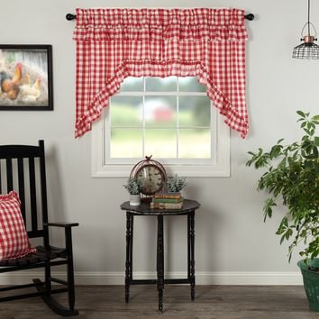 Annie Red Buffalo Check Ruffled Swag Curtains