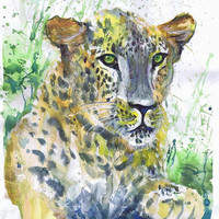 Leopard , painting , watercolor , art print, A4