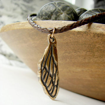 Cicada Wing Pendant - Leather Wing Necklace