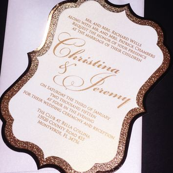 Rose Gold Glitter and Foil Wedding Invitation - CHRISTINA VERSION