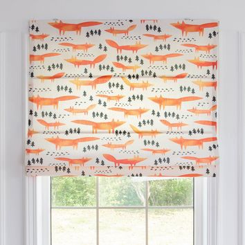 Quick Fix Washable Roman Window Shades Flat Fold, Red Foxes