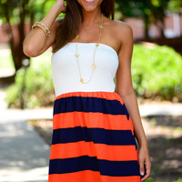 The Kickoff Dress, Navy/Orange