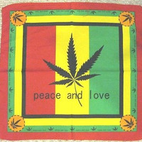 New Reggae Rasta Marijuana MJ Weed Pot Cannabis One Love Head Wrap Bandana 22x22