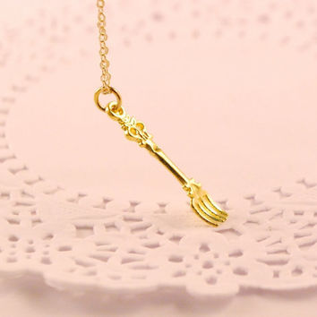 special fork / spoon necklace gold spoonfood by SweetArtMiniatures