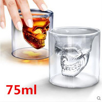 2.5oz Crystal Skull Head Doomed Shot double Wall Shot Drinking Glass+ Free Shipping
