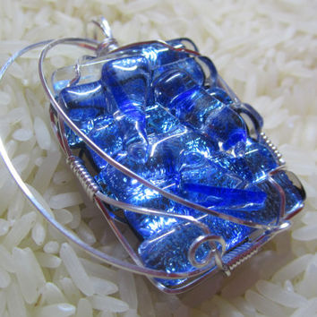 Bright blue wire wrapped dichroic fused glass pendant
