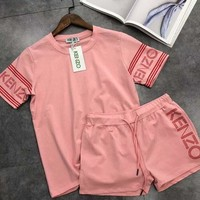 Kenzo Sleeve Word Print Two Piece Sports Suit B-AA-XDD Pink
