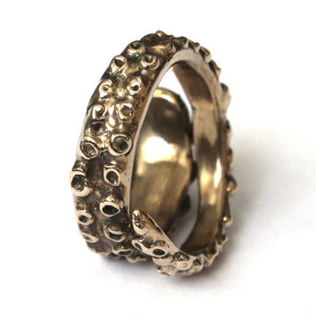 Octopus Tentacle Ring in Solid Bronze by mrd74 on Etsy