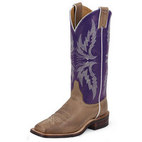 Women's Justin Tan Vintage-13in Purple Top Cowgirl Boots