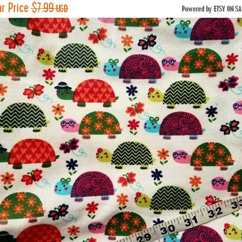 Floral Flannel fabric with turtles flower butterfly designer shells cotton quilt quilters sewing material to sew by the yard crafting BTY