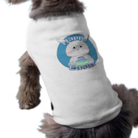 Cute Blue Bunny Boy with Easter eggs in a basket Dog Tee Shirt
