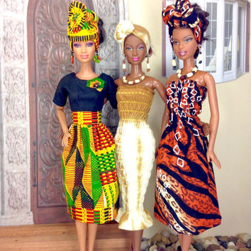 Barbie Doll Clothes -  Fitted Tie Dye Maxi Dress with Head Wrap, Earrings, Necklace and Shoes