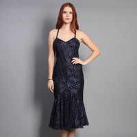 80s METALLIC Lace PARTY DRESS / Strappy Mermaid Flared Gown, xs-s