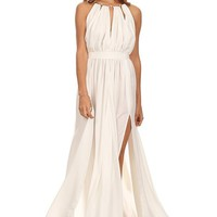 June - Off White Chiffon Halter Ring Long Maxi Gown w/ Slits