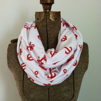 NEW -- Adult Infinfity -Red Anchor Infinity Scarf - Looped Scarf - Knit Scarf