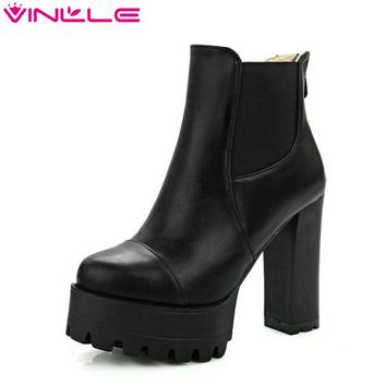 Size 34-43 Fashion Zipper 2017 Round Toe PU Leather Women Shoes Square High Heel Ankle Boot Women Motorcycle Boot