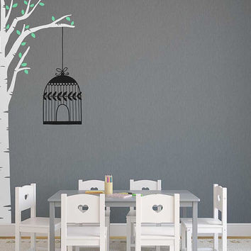Tree Wall Decal - Nursery Decal, Tree Decal, Bird Cage Decal, Cute Nursery Decal, Wall Sticker, Nursery Wall Decor