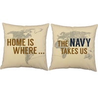Home is Where the Navy Takes Us Pillows - World Map Print Throw Pillows with or w/out Cushion Inserts - US Navy Print, Military Room Decor