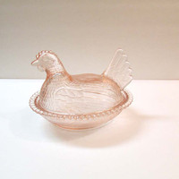 Indiana Glass Co. Hen on Nest Dish in Pale Pink Shell Pink