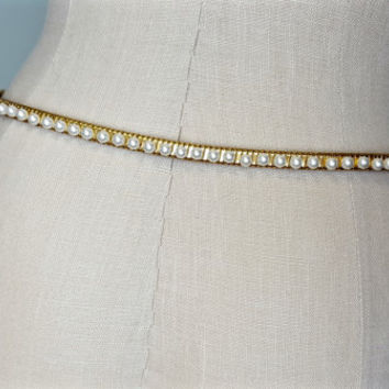Vintage Pearl Goldtone Stretch Belt, Single Row Pearl Stretch Belt, Thin Gold Belt, Stretchy Belt, Vintage Clothing, Wedding, Bridal, Pearls